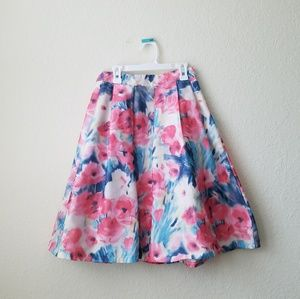 Everly Pink and blue floral flare skater skirt
